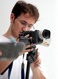 A student shoots some video